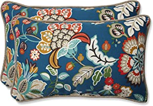 Pillow Perfect Outdoor Telfair Rectangular Throw Pillow, Peacock, Set of 2