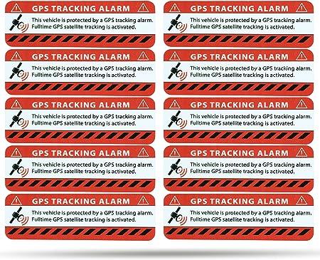 Secyourity Gps Alarm Aufkleber Pkw Warnaufkleber Für Auto Lkw Rot 10 Auto