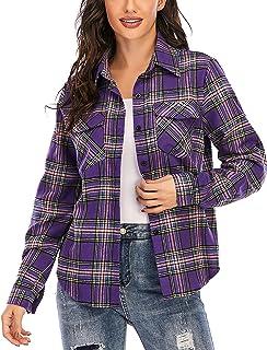 Enjoyoself 100% Cotone Donna Camicia a Quadri Flanella Blusa Casual Manica Lunga Capo Classico Shirts Tops