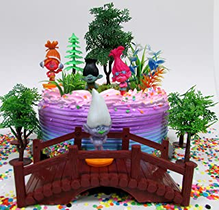 Trolls Themed Birthday Cake Topper Set Featuring Poppy & Friends Figures and Decorative Themed Accessories
