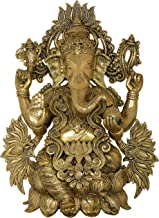 Lord Ganesha Decorated with Lotus Flowers - Brass Statue
