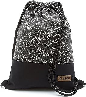 By Bers LEON Turnbeutel mit Innentaschen in Schwarz-Weiß Rucksack Tasche Damen Herren & Teenager Gym Bag Draw String Blätter