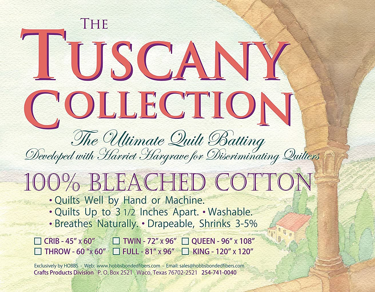 Hobbs Batting Tuscany Bleached Cotton x 120in King, 120