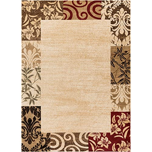 Well Woven Verdant Vines Beige Modern Damask Border Rug 160 x 220 cm Casual Oriental Easy Clean Stain Fade Resistant Shed Free Contemporary Floral Formal Gradient Soft Living Dining Room Rug