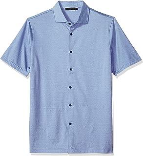 Bugatchi Men's Modern Fit Full Button Self Collar Knit Shirt