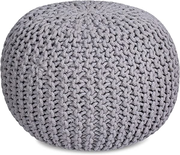 BIRDROCK HOME Round Pouf Foot Stool Ottoman Knit Bean Bag Floor Chair Cotton Braided Cord Great For The Living Room Bedroom And Kids Room Small Furniture Light Grey