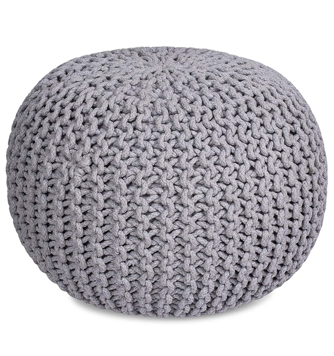 BIRDROCK HOME Round Pouf Foot Stool Ottoman | Knit Bean Bag Floor Chair | Cotton Braided Cord | Great for The Living Room, Bedroom and Kids Room | Small Furniture (Light Grey)