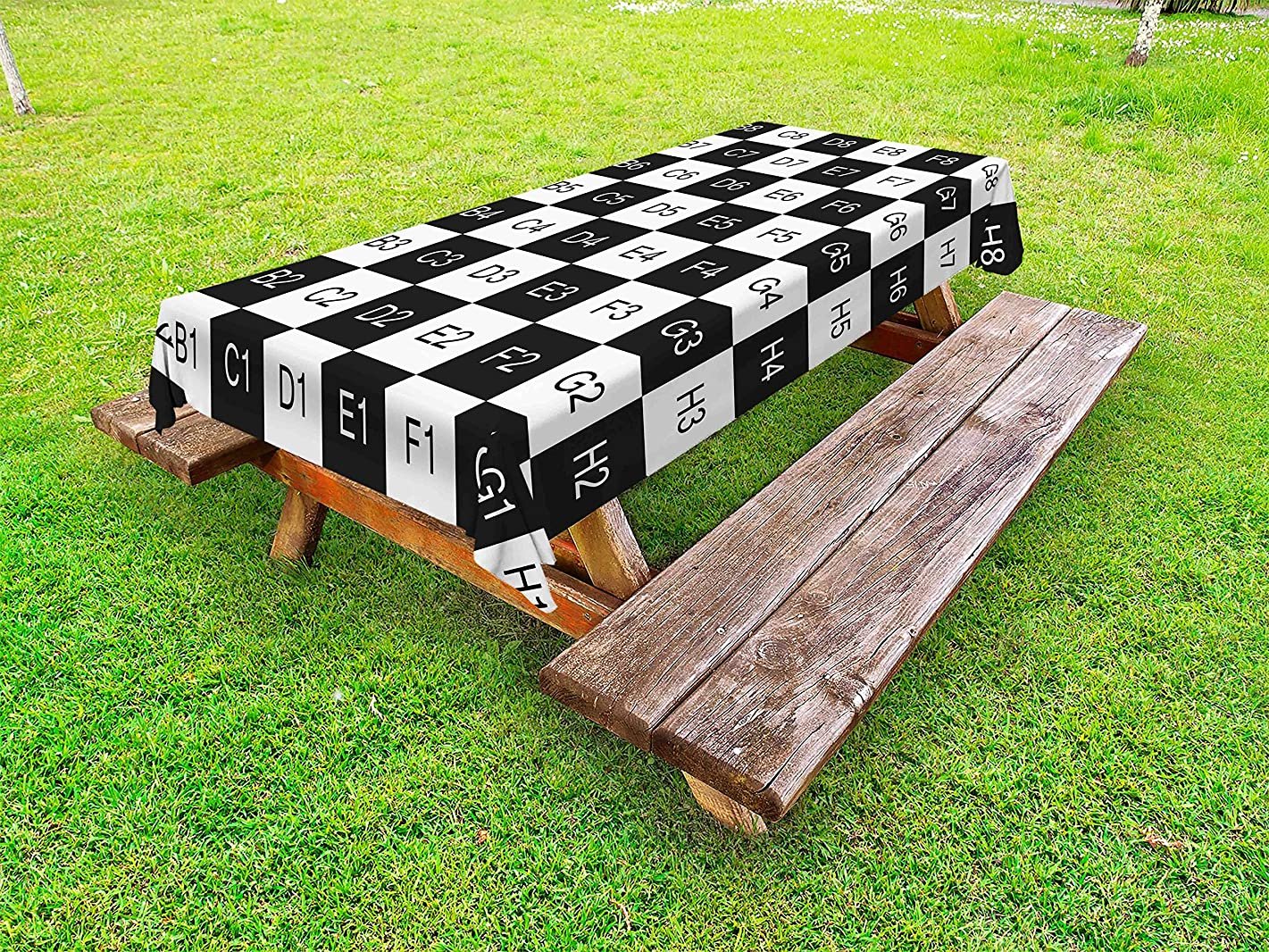 Ambesonne Checkers Game Outdoor Tablecloth, Monochrome Chess Board Design with Tile Coordinates Mosaic Square Pattern, Decorative Washable Picnic Table Cloth, 58 X 84 Inches, Monochrome