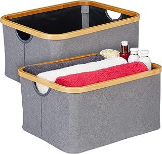 Relaxdays Boîte de rangement tissu, lot de 2, pliantes, paniers, poignée & rebord en bambou, 22,5 x 45,5 x 35,5 cm, gris