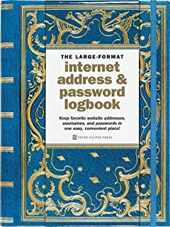Celestial Large-Format Internet Address & Password Logbook (removable cover band for security)