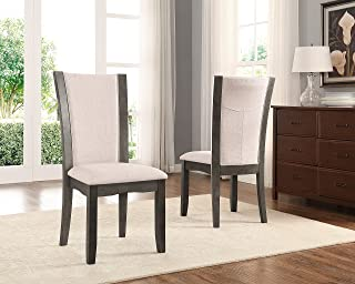 Roundhill Furniture Kecco Grey Solid Wood Dining Chairs, Set of 2