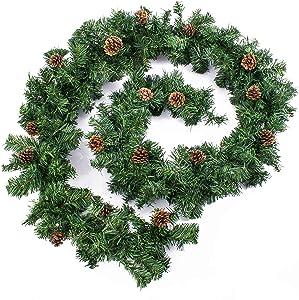 artplants.de Lot 3 x Guirlande de Sapin Artificiel, 24 Pommes de pin, 270cm, au Milieu Ø 20cm - 3 pcs décoration de Noël - Guirlande Artificielle