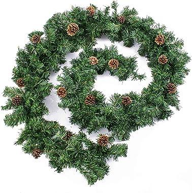 artplants.de Lot 3 x Guirlande de Sapin Artificiel, 24 Pommes de pin, 270cm, au Milieu Ø 20cm - 3 pcs décoration de Noël - Gu