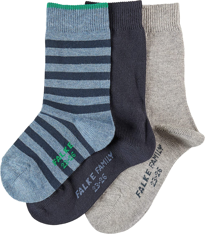 FALKE Socken Mixed 3-Pack Baumwolle Kinder blau verst/ärkte Kindersocken mit Muster atmungsaktiv d/ünn einfarbig und mit Streifen im Multipack 3 Paar