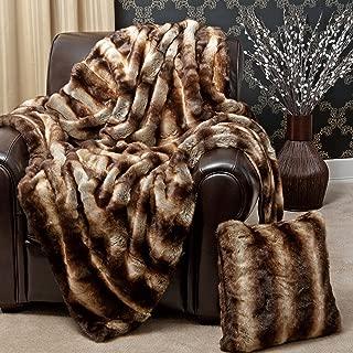 Best Home Fashion Faux Fur Throw - Full Blanket - Chinchilla - 58