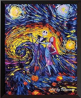Uhomate ナイトメアー ビフォア クリスマス ジャックとサリー フィンセント・ヴァン・ゴッホ 星月夜スタイルポスター 自宅 キャンバス 壁アート 記念日ギフト ベビーギフト 子ども部屋の装飾用 リビングルーム 壁装飾 A005 13X19 inch 14200117