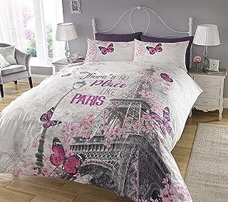 Sleepdown Paris Romance Juego de Funda de edredón tamaño King, algodón, Gris, Matrimonio
