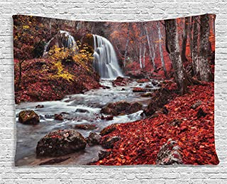 Ambesonne Apartment Decor Tapestry by, Silver Stream Waterfall in Fall Forest of Grand Canyon Idyllic Nature Photo, Wall Hanging for Bedroom Living Room Dorm, 80WX60L Inches, Red Brown