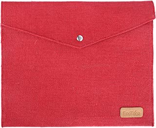 ECOTARA Go Natural Multipurpose Eco Friendly Everyday Use Button Closure Jute Envelopes (10 X 12.5 X 1-inch) - RED