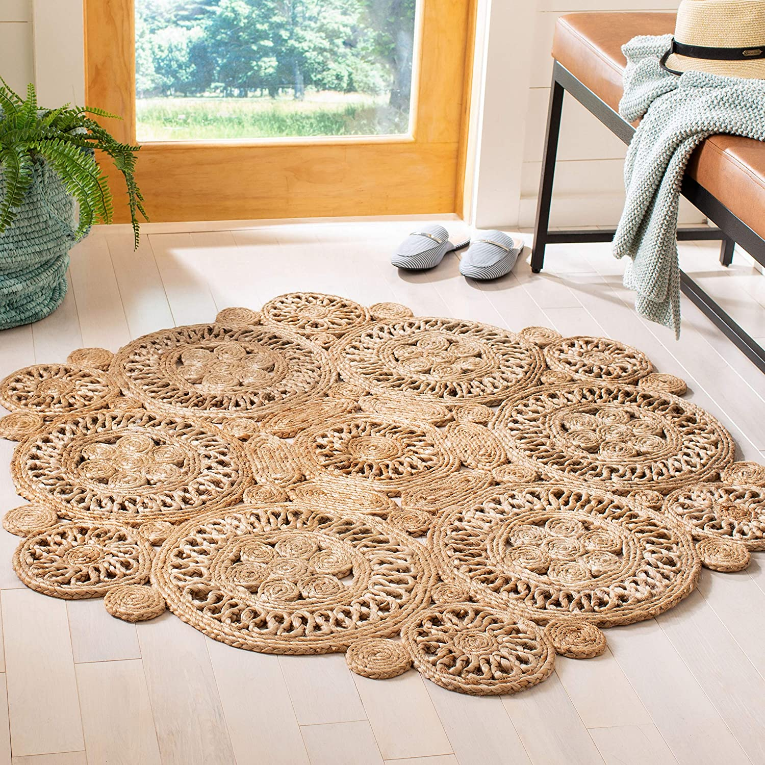 Safavieh Natural famous store Fiber Round Collection Boho NFB238A Handmade Co