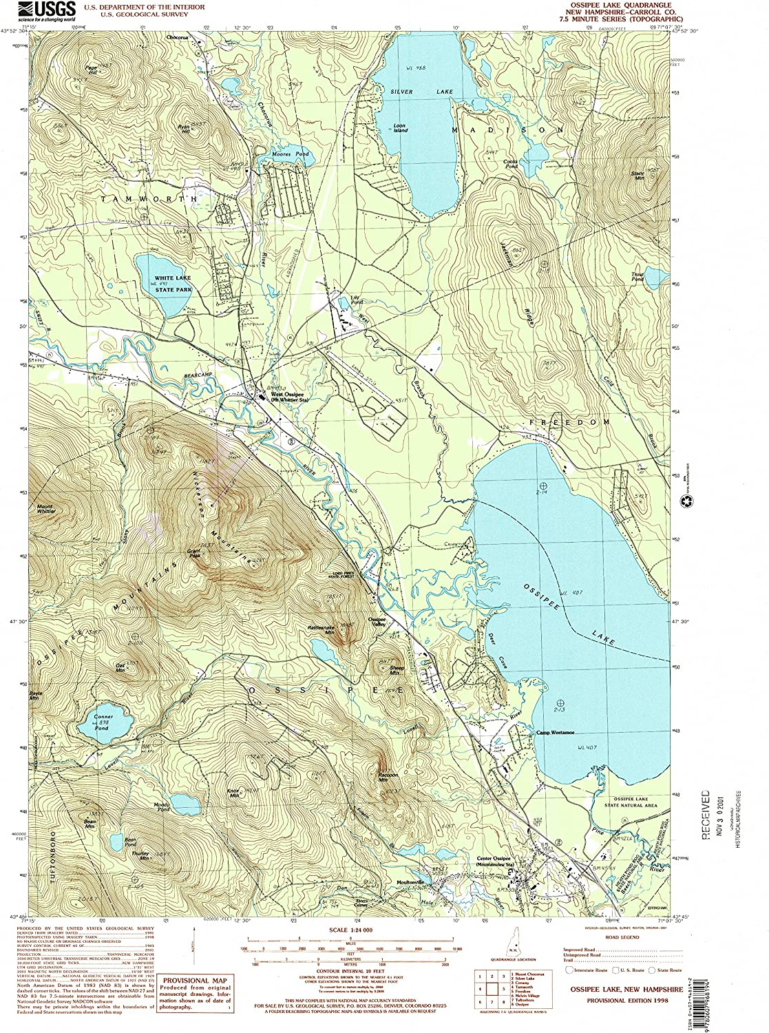 Ossipee Lake NH topo map, 1 24000 Scale, 7.5 X 7.5 Minute, Historical, 1998, Updated 2001, 26.9 x 22 in