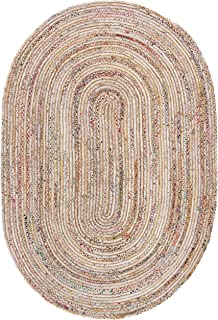 Safavieh Cape Cod Collection CAP202B Handmade Beige and Multicolored Jute Oval Area Rug (3' x 5')
