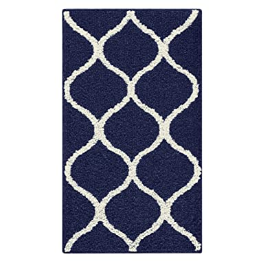 Maples Rugs Rebecca Contemporary Kitchen Rugs Non Skid Accent Area Carpet [Made in USA], 1'8 x 2'10, Navy Blue/White