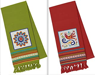 DII Design Imports Baja Cantina Talavera Embellished Kitchen Dish Towels Set of 2 - Red Bird - Green Sun