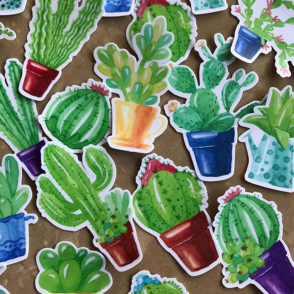 Navy Peony Cute Potted Cactus and Succulent Plants Stickers | Trendy Waterproof Stickers for Water Bottles, Laptop and Phone Cases | Cool Small Decals for Your Scrapbook, Planners and Bullet Journals