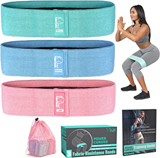 Non Slip Fabric Resistance Bands - Booty Bands: Resistance Bands for Legs and Butt,  Set of 3 14 Inch Workout Bands,  for Booty and Lower Body Building,  Training Guide Included