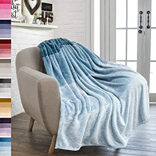 PAVILIA Flannel Fleece Ombre Throw Blanket for Couch | Super Soft Cozy Microfiber Couch Blanket | Gradient Decorative Accent Throw | All Season, 50x60 Inches Turquoise Blue