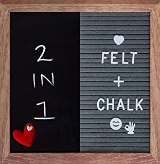 Felt Letter Board and Chalk Board (2-in-1) Changeable Messages w/Display Stand   Oak Frame, 376 Plastic Alphabet Letters, Chalk Marker, and Accessories