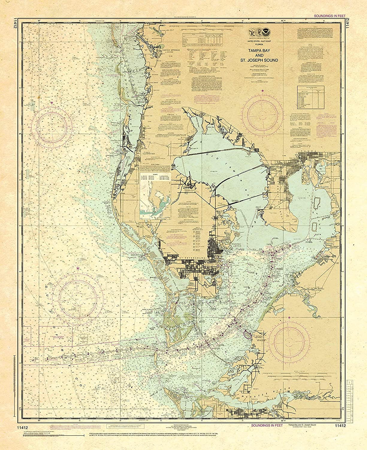 Paradise Cay Publications NOAA 100% quality warranty! Chart 11412: Tampa Jo Bay Outlet ☆ Free Shipping St. and