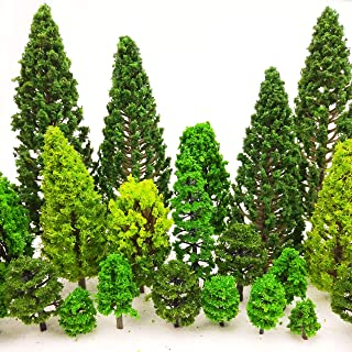 MOMOONNON 36 Pieces Model Trees 1.36-6 inch Mixed Model Tree Train Scenery Architecture Trees Fake Trees for DIY Crafts, B...