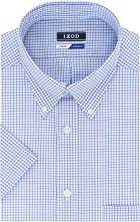 IZOD Men's Regular Fit Short Sleeve Check Dress Shirt