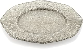 IVV Glassware Diamante 13-1/2-Inch Round Charger, Beige Chrome Decoration