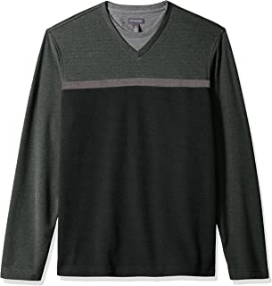 Men's Long Sleeve Jaspe Stripe Doubler V-Neck Shirt