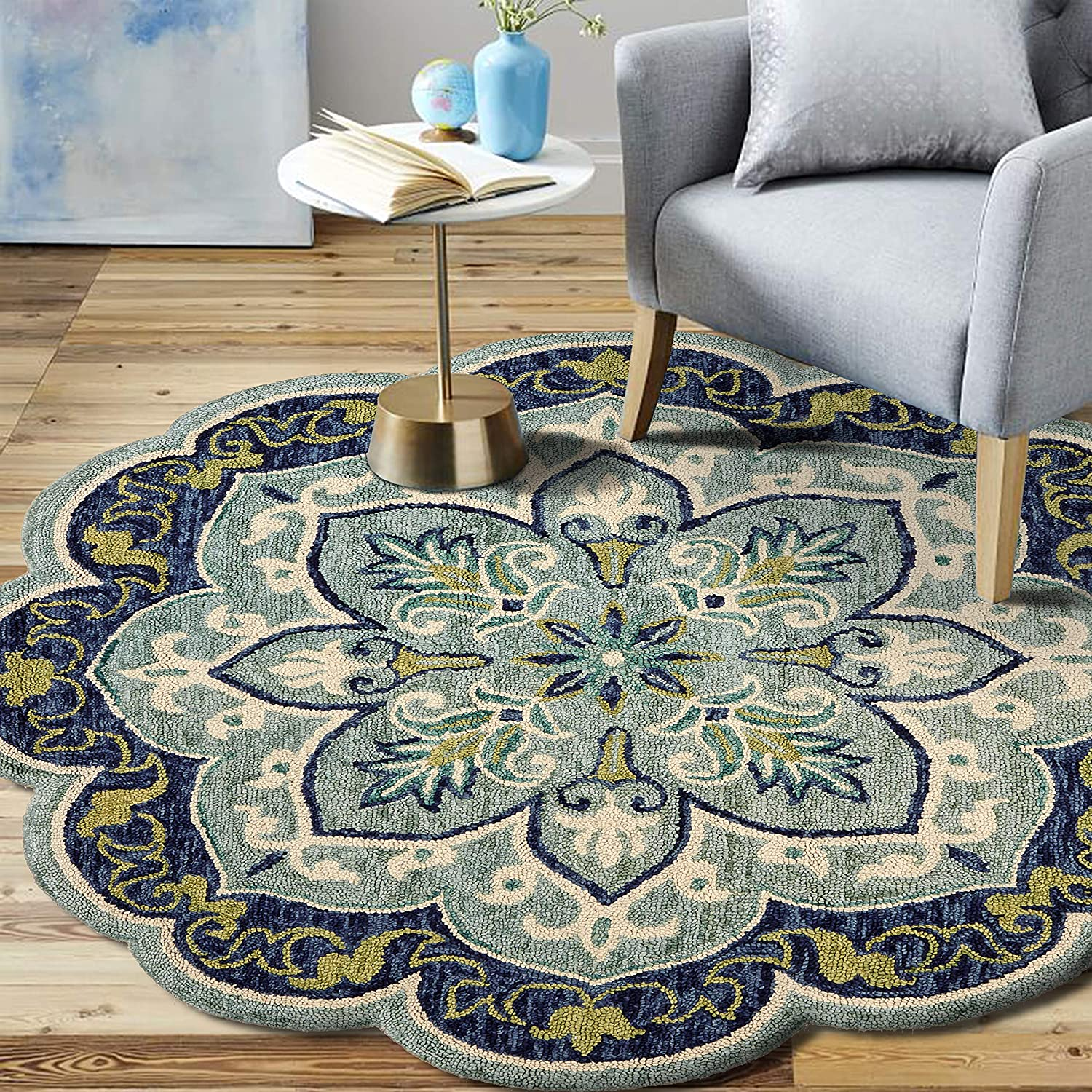 Amazon.com: LR Home Dazzle Area Rug, 4' Round, Teal : Everything Else