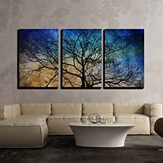 wall26 3 Piece Canvas Wall Art - Black Tree Branches on Abstract Colorful Background - Modern Home Decor Stretched and Framed Ready to Hang - 24
