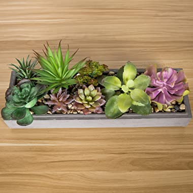 MyGift 15 Inch Mixed Color Assorted Artificial Succulent Plant Arrangement in Modern Gray Clay Planter Tray