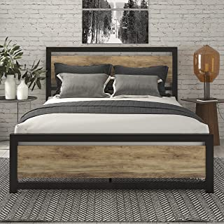 SHA CERLIN Queen Bed Frame with Modern Wooden Headboard / Heavy Duty Platform Metal Bed Frame with Square Frame Footboard...