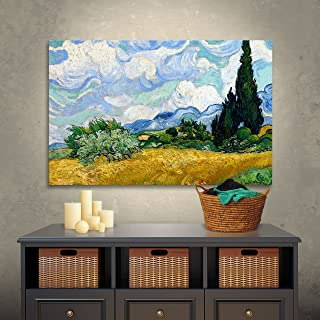 ArtWall Vincent Vangogh's Wheatfield with Cypresses, Gallery-Wrapped Canvas, 14 by 18-Inch