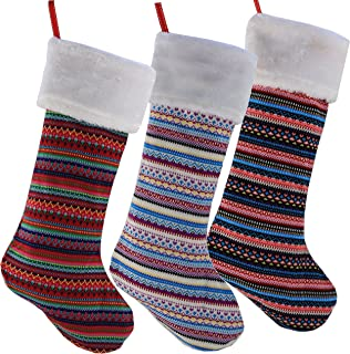 WEWILL Unique Handmade Set of 3 Striped Knit Christmas Stockings Decoration Party Decorations Gift- 19Inch