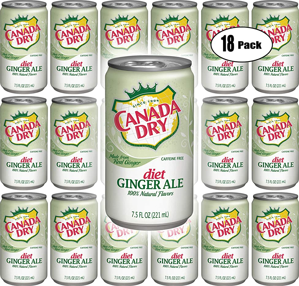 Canada Dry Diet Ginger Ale, 7.5oz Mini Can (Pack of 18, Total of 135 Oz)