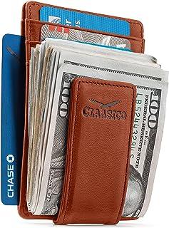 محفظة جلدية بمشبك نقود للرجال جيب أمامي نحيف RFID حجب مع مغناطيس قوي للغاية