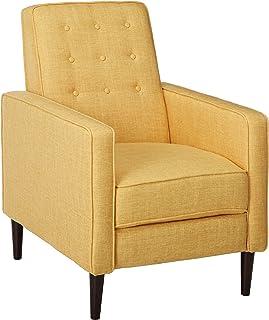 Christopher Knight Home Mervynn Mid-Century Modern Fabric Recliner, Muted Yellow / Dark Espresso