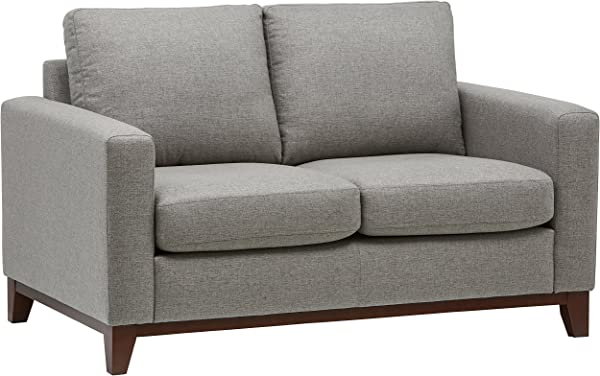 Rivet North End Modern Wood Accent Loveseat Sofa Couch 58 7 W Grey Weave