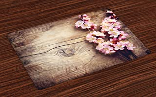 Ambesonne Floral Place Mats Set of 4, Spring Blossom on Wooden Table Romantic Natural Farmhouse Countryside Style Print, Washable Fabric Placemats for Dining Room Kitchen Table Decor, Brown Pink