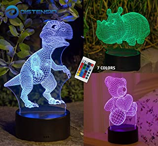 3D Night Light Lamp Illusion – 3 Pattern Design (Teddy Bear, Hippo, Dinosaur) Bedside Night Led Lamp with Acrylic Panel for Boys & Girls – 7 Color Changing with Remote Control and 39in USB Cable