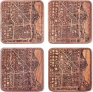 Milwaukee Map Coaster by O3 Design Studio, Set Of 4, Sapele Wooden Coaster With City Map, Handmade